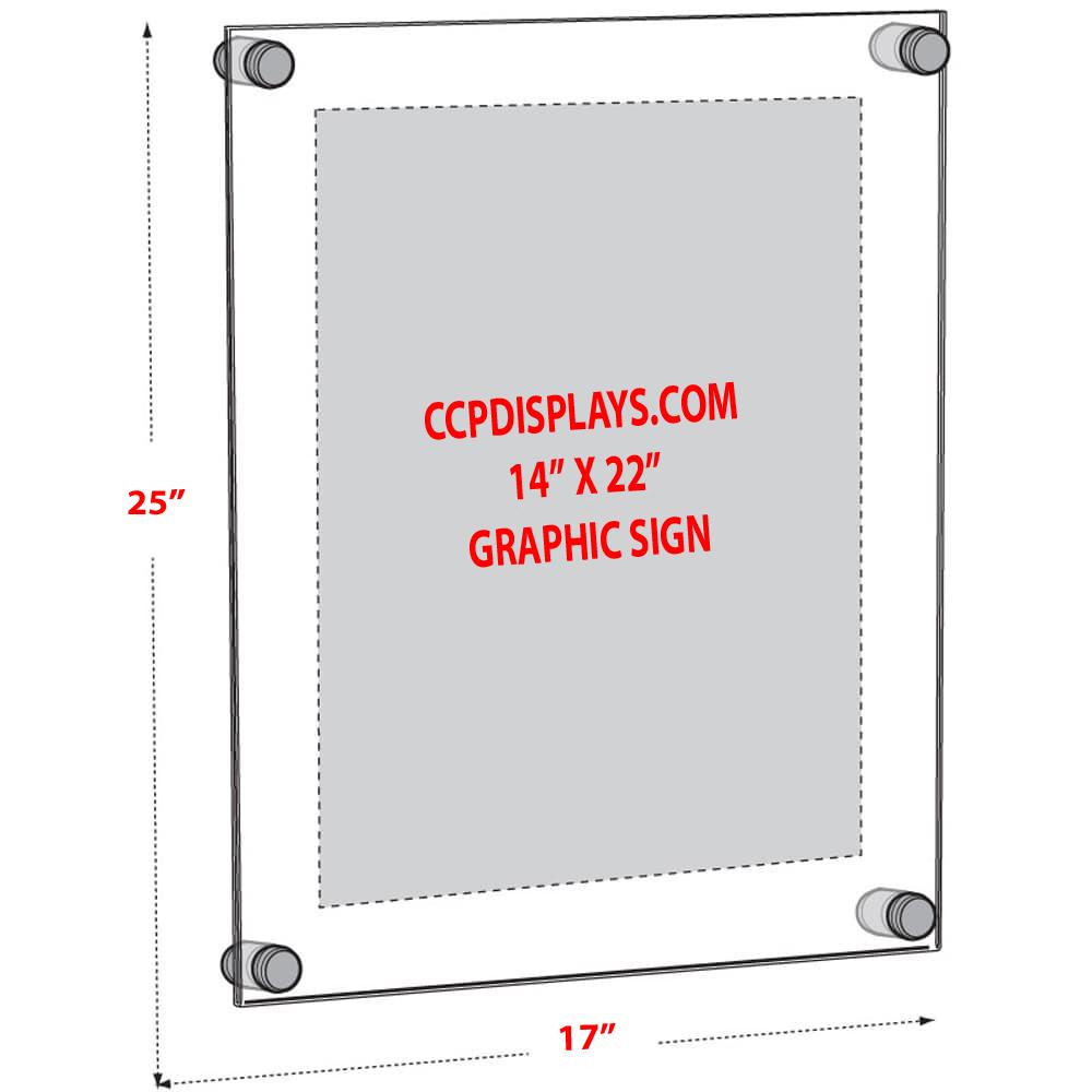 Acrylic Wall Standoff Sign Holder Insert Size 14 X 22