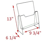 Premier Elevated Brochure Holder - 13 x 9 3/4 x 6 1/4<br>For magazines