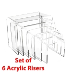 Acrylic Riser Set of Six - 4 1/8 x 3 3/4 x 3 1/4 To 7 1/2 x 3 3/4 x 5 7/8