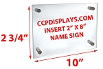 Acrylic Wall Standoff Sign Holder - Insert Size 2 x 8