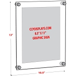 Acrylic Wall Standoff Sign Holder - Insert Size 8 1/2 x 11