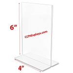 Bottom Loading Acrylic Sign Holder  - 4 x 6