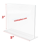 Bottom Loading Acrylic Sign Holder  - 5 x 3
