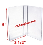 Double Panel Acrylic Sign Holder- 3 1/2 x 5