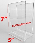 Double Sign Acrylic Sign Holder -Holds two 5 X 7 signs