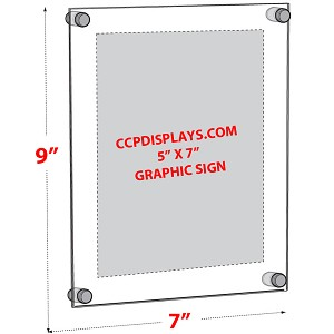 Acrylic Wall Standoff Sign Holder - Insert Size 5 X 7