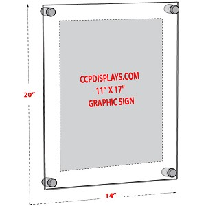 Acrylic Wall Standoff Sign Holder - Insert Size 11 x 17
