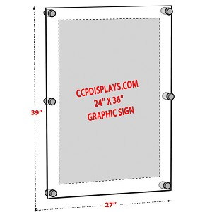 Acrylic Wall Standoff Sign Holder - Insert Size 24 x 36
